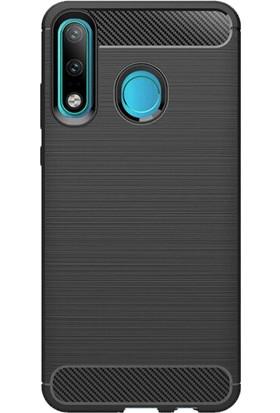 Microcase Huawei P30 Lite Brushed Carbon Fiber Silikon Kılıf - Siyah
