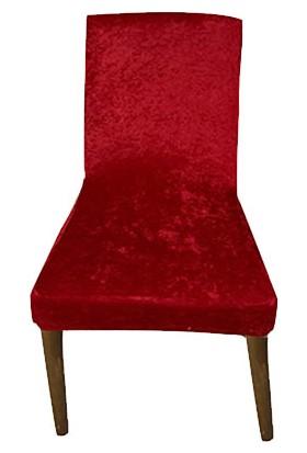 Gülizhome Sandalye Kılıfı Kadife Bordo