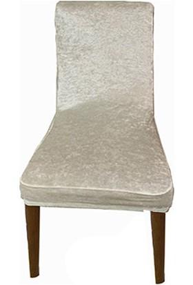 Gülizhome Sandalye Kılıfı Kadife Krem