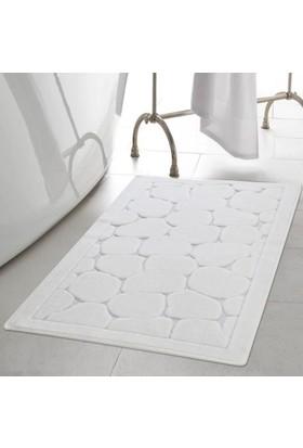 White & Begie Stone Banyo Paspası 60 x 100+50 x 60-Ekru