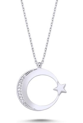 Bakalcik Gümüş (925 Ayar), Zirkon Taş İşlemeli, Rodyum Kaplama, Ay Yıldız Kadın Kolye 2,39 Gr.