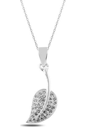Bakalcik Gümüş (925 Ayar), Zirkon Taş İşlemeli, Yaprak Kolye 3,10 Gr.
