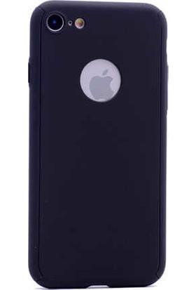 Antdesign Apple iPhone 7 / iPhone 8 360 Derece Tam Koruma Sert Silikon Kılıf Siyah