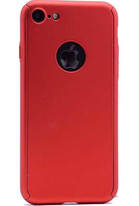 Antdesign Apple iPhone 7 Plus 360 Derece Tam Koruma Sert Silikon Kılıf Kırmızı
