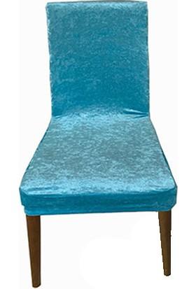 Gülizhome Sandalye Kılıfı Kadife Turkuaz