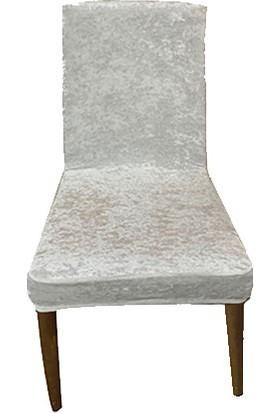 Gülizhome Sandalye Kılıfı Kadife Beyaz