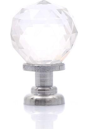 Enfute Kristal Cam Düğme Çekmece Kulp Renk Krom 20 mm
