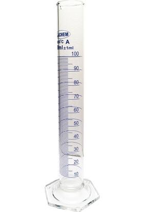 Achem 100Ml Cam Mezür Uzun Form Mavi Skala