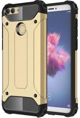 Beğenseç Huawei P Smart Kılıf Zırhlı Tam Koruma Silikon Crash Arka Kapak - Gold