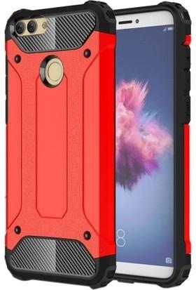 Beğenseç Huawei P Smart Kılıf Zırhlı Tam Koruma Silikon Crash Arka Kapak - Kırmızı