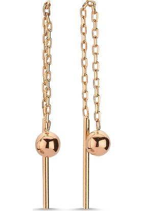 Aypa Mücevher Ag00044Kp-001 Kırmızı Altın Zincirli Top Küpe