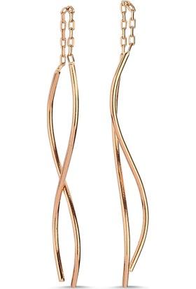Aypa Mücevher Ag00052Kp-001 Kırmızı Altın Dalgalı Küpe