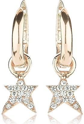 Femmevien Ec421 925 Ayar Gümüş Beyaz Taşlı Yıldız Küpe