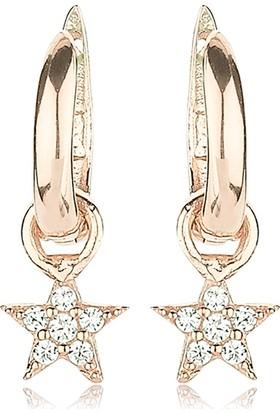Femmevien Ec426 925 Ayar Gümüş Beyaz Taşlı Yıldız Küpe