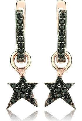Femmevien Ec434 925 Ayar Gümüş Siyah Taşlı Yıldız Küpe