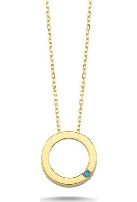 Aypa Mücevher Ag00101Kl-001 Firuze Taşlı Halka Altın Kolye