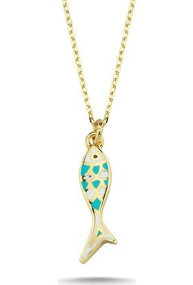 Aypa Mücevher Mineli Balık Altın Kolye