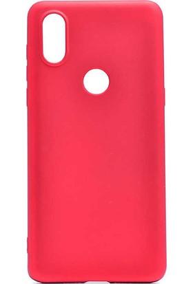 CoverZone Motorola One Vision Kılıf Premier Silikon Kılıf Kırmızı + Temperli Ekran Koruma