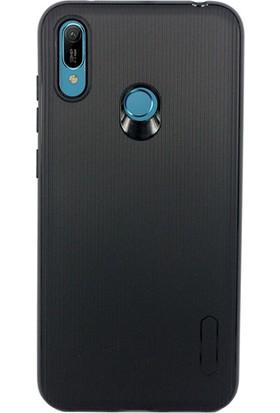 Case 4U Huawei Y6 Prime 2019 Kılıf Mat Silikon Çizgili Tio Arka Kapak Siyah