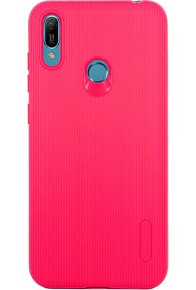Case 4U Huawei Y6 Prime 2019 Kılıf Mat Silikon Çizgili Tio Arka Kapak Koyu Pembe