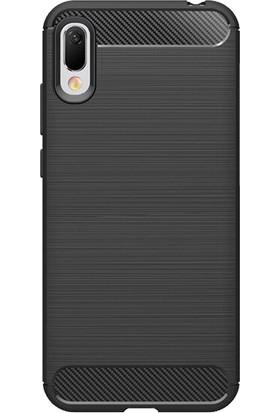 Microcase Huawei Enjoy 9e Brushed Carbon Fiber Silikon Kılıf - Siyah