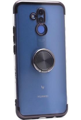 Aksesuarkolic Huawei Mate 20 Lite Kılıf 4 Kose Renkli Yüzüklu Gess Silikon + Cam Ekran Koruyucu Siyah