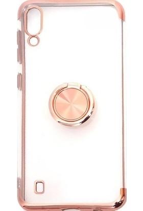 Aksesuarkolic Samsung Galaxy A10 Kılıf Yüzüklu Miknatisli Standlı Lazer Kaplama Kılıf Rose Gold