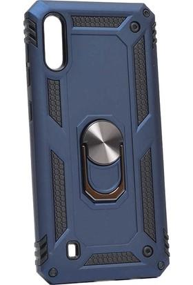 Aksesuarkolic Samsung Galaxy M10 Kılıf Cift Katmanli Yüzüklu Manyetik Vega Kapak Lacivert