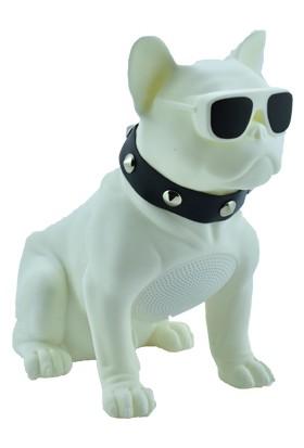Esrenkli Gözlüklü Köpek Ses Bombası Beyaz