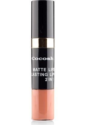 Cocosh She Matte Lipstick Lasting Lipgloss 2 in 1 Smile Ruj 07 - Coffee