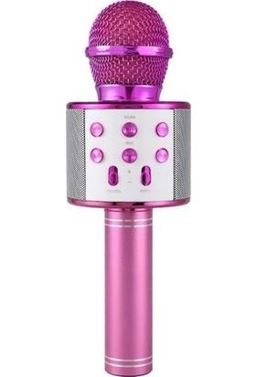 Case 4U Karaoke Mikrofon Bluetooth Hoparlör Aux Usb Mikro Sd Kart Girişli Pembe