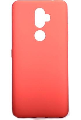 Happyshop Alcatel 3V Kılıf Ultra İnce Mat Silikon Kırmızı + Cam Ekran Koruyucu