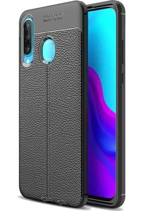 DVR Huawei P30 Lite Kılıf Özel Karbon Niss Deri Görünümlü (Siyah)