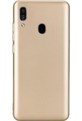 DVR Samsung Galaxy A30 Kılıf Silikon Premier (Gold) + Cam Ekran Koruyucu