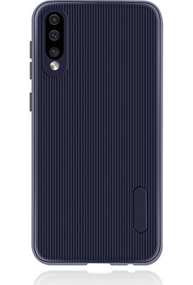 Liontech Samsung Galaxy A50 Kılıf Striped Soft Tio Silikon Kapak Lacivert