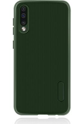 Liontech Samsung Galaxy A50 Kılıf Striped Soft Tio Silikon Kapak Yeşil