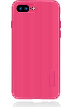 LionTech Apple iPhone 7 Plus Kılıf Striped Soft Tio Silikon Kapak Pembe