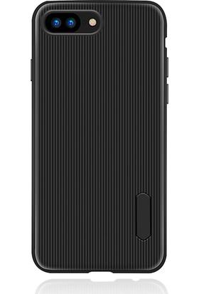 LionTech Apple iPhone 7 Plus Kılıf Striped Soft Tio Silikon Kapak Siyah