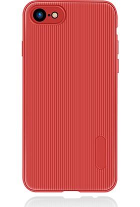 LionTech Apple iPhone 7 Kılıf Striped Soft Tio Silikon Kapak Kırmızı