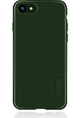 LionTech Apple iPhone 7 Kılıf Striped Soft Tio Silikon Kapak Yeşil