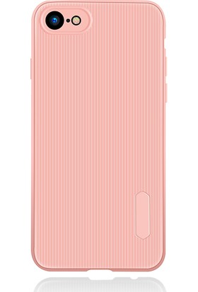 LionTech Apple iPhone 7 Kılıf Striped Soft Tio Silikon Kapak Açık Pembe