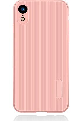 LionTech Apple iPhone XR Kılıf Striped Soft Tio Silikon Kapak Açık Pembe