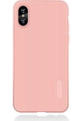 LionTech Apple iPhone X Kılıf Striped Soft Tio Silikon Kapak Açık Pembe