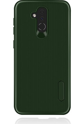 LionTech Huawei Mate 20 Lite Kılıf Striped Soft Tio Silikon Kapak Yeşil