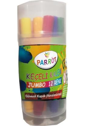 Parrot Keçeli Kalem Jumbo 12 Renkli Güvenli Kapaklı Havanaldırmalı