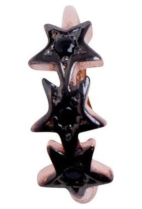 İzla Design Yıldız Model Siyah Zirkon Taşlı Rose Gümüş Kıkırdak Küpe