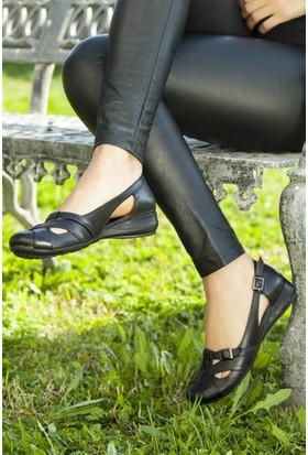 Tarçın Kot Siyah Kadın Babet Ayakkabı Trc50-4002