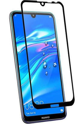 Case 4U Huawei Y7 2019 Tam Kaplayan Cam Ekran Koruyucu - Nano Fiber Siyah
