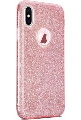 Casestore Apple iPhone XS Max Kılıf Silvery Simli Soft Silikon Kılıf + Nano Ekran Koruyucu Cam Pembe