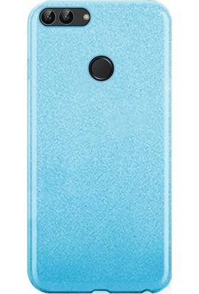Casestore Huawei P Smart Simli Sert Slim Fit Silikon Kılıf + Nano Glass Ekran Koruyucu Film Mavi